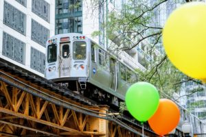 Chicago L with Balloons